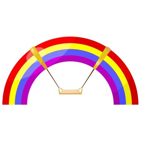 Cartoon rainbow swing.  Vector