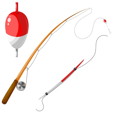 cartoon fishing: Set of gear for fishing.