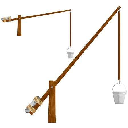 cartoon wood bucket: Sump wooden crane.  Illustration