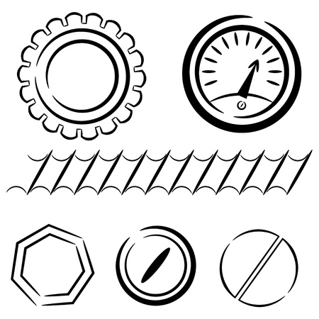 computer repairing: Cartoon set of industrial elements