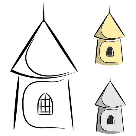 built tower: Cartoon torre del castillo Vectores