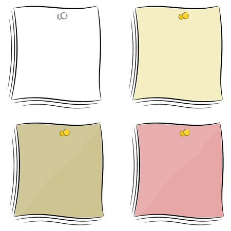 Set of  cartoon notes attached pushpin Stock Vector - 16250101