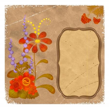 petrikovka: Petrikovka Ukrainian national floral ornament on vintage background Illustration