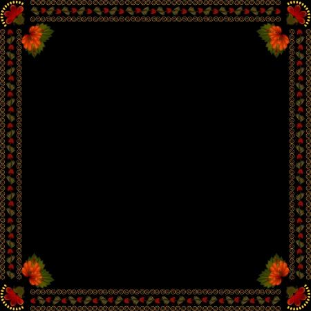 petrikovka: Ukrainian national floral ornament on dark background Illustration