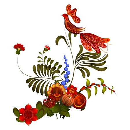 Petrikov painting.  Floral ornament on white background Vector