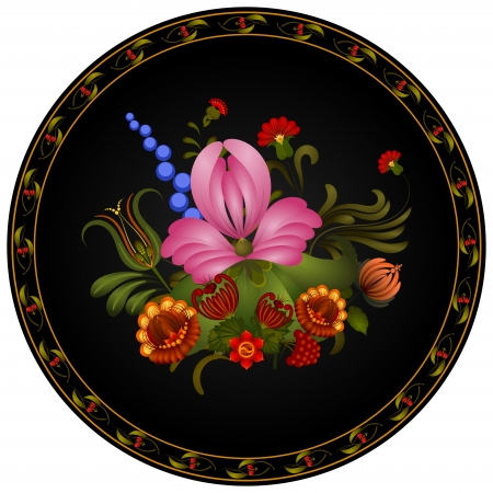 Petrikov painting.  Vintage floral ornament on black round plate Vector