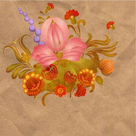 petrikovka: Petrikov painting.  Vintage floral ornament on old paper