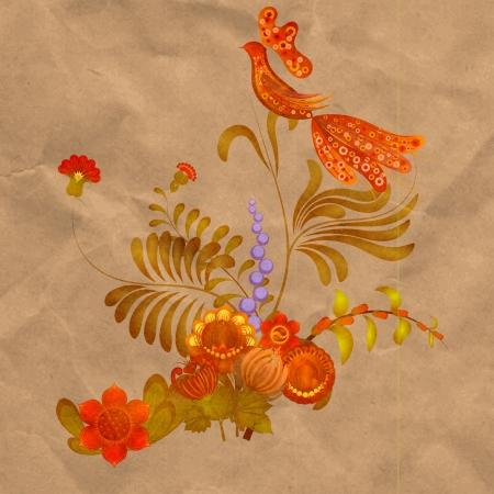 petrikovka: Petrikov painting.  Floral ornament on old paper background