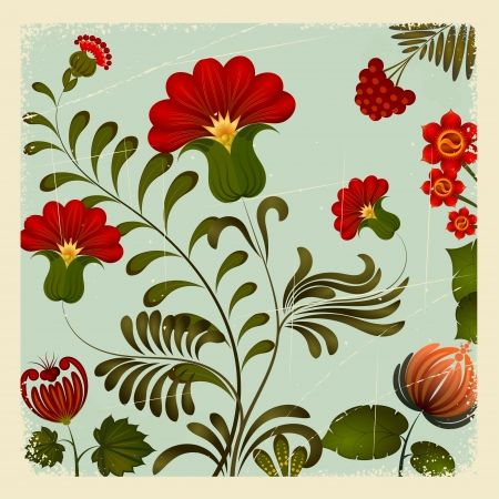 Petrikov painting. Ukrainian national floral ornament on vintage background Vector