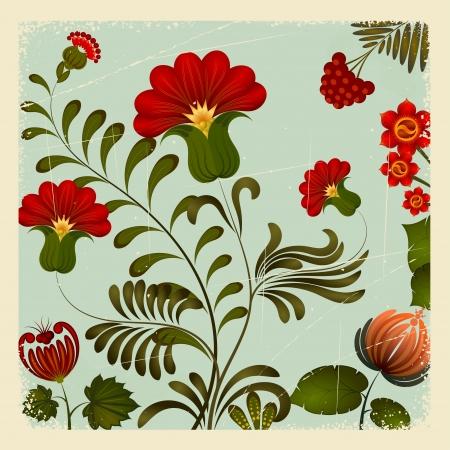 Petrikov pintura. Ornamento floral ucraniano nacional en la cosecha de fondo