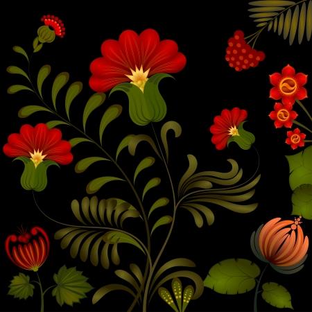 petrikovka: Petrikov painting. Traditional Ukrainian national floral ornament on dark background Illustration