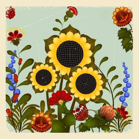 Traditional Ukrainian ornament with a sunflower on the vintage background Vector
