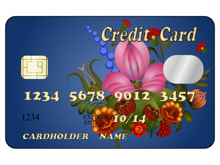 debt collection: Abstract credit card with floral ornament. eps10 Illustration