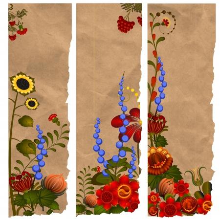 Un conjunto de marcadores de papel con diseños tradicionales ucranianos. eps10 Ilustración de vector