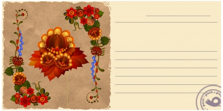 Vintage postcard with floral patterns. eps10 Vector