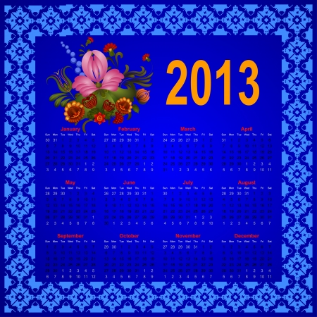 Calendar with a picture of a bouquet of flowers. eps10 Vector