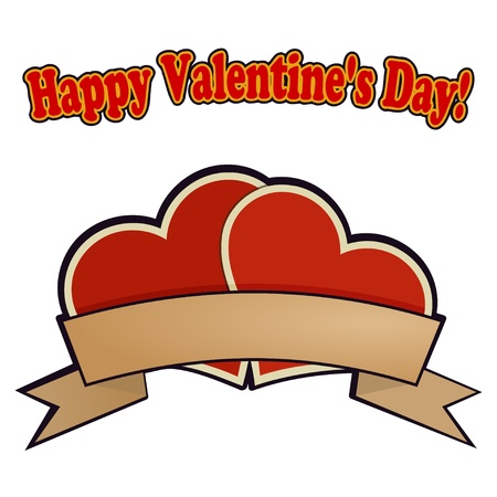 Two red hearts for Valentines Day. Vector