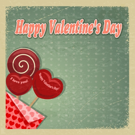 Retro card for Valentine's Day.  Stock Vector - 16855577