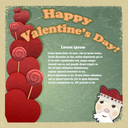 Vintage card for Valentine's Day. Vector