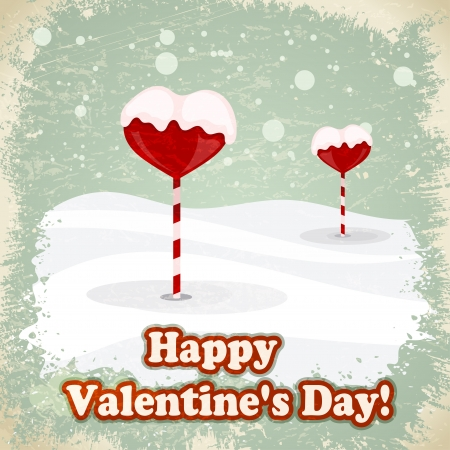 Sweets in the form of hearts in the snow. Vector