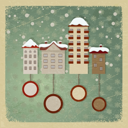Vintage postcard with a picture of houses. Stock Vector - 16855574