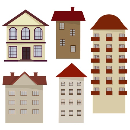 Set of cartoon houses.  Vector