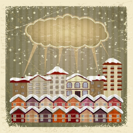 Vintage card with a retro image of the city and the cloud. Stock Vector - 16855576