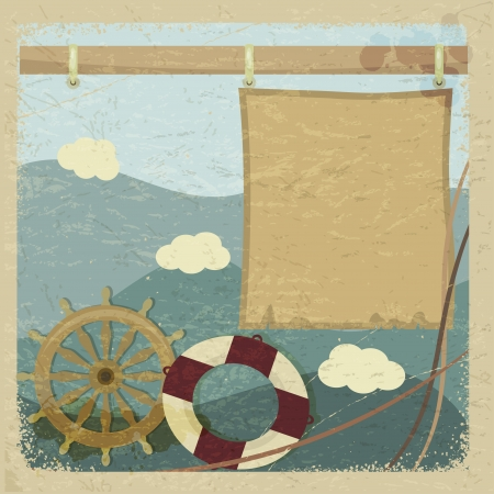 Abstract vintage background with a steering wheel and a lifeline.  Vector