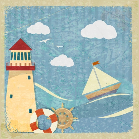 nautical vessel: Vintage postcard with a yacht, a lighthouse and the wheel.