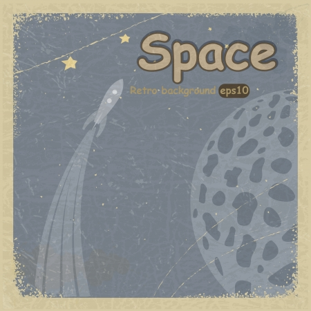 Vintage postcard with retro space background. Stock Vector - 16855540