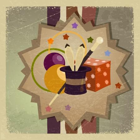 yıldız: Nesneler büyücü ile Vintage kartpostal. Çizim