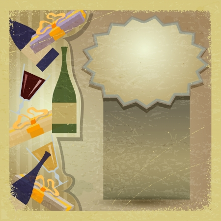 Vintage card with a bottle of wine and a glass. Stock Vector - 16855578