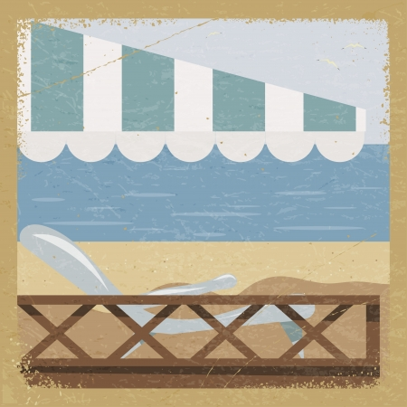 hand rails: Vintage card with a sea view and the elements of grunge.