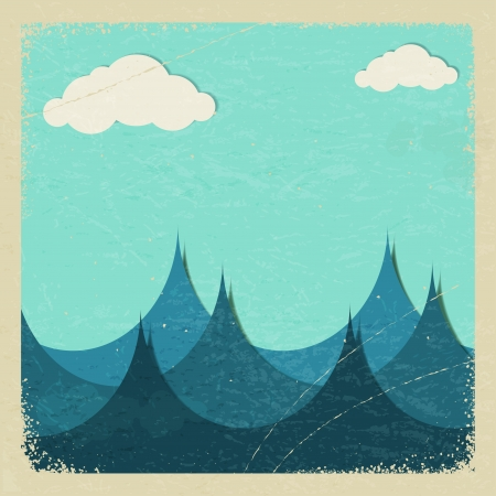 Illustration of a stormy sea and clouds of paper.  Stock Vector - 17259705