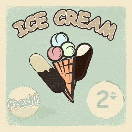 Vintage postcard with a picture of ice cream. eps10 Vector