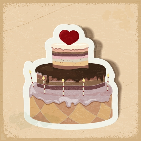 Vintage card with a cake on Valentine's Day. eps10 Vector