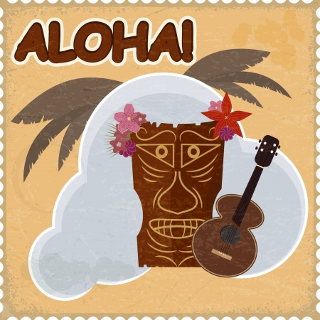 tiki: Vintage postcard with Hawaiian elements. eps10