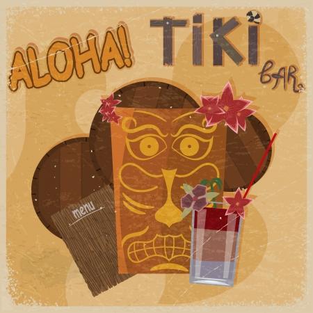 tiki bar: Vintage postcard - for tiki bar sign - featuring Hawaiian masks, guitars and cocktails. eps10