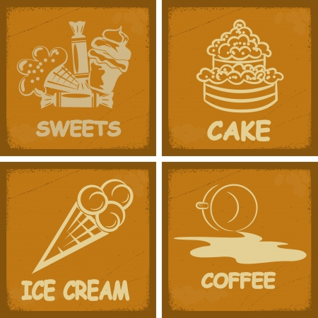 Set of vintage postcards for cafe with the image food. Vector
