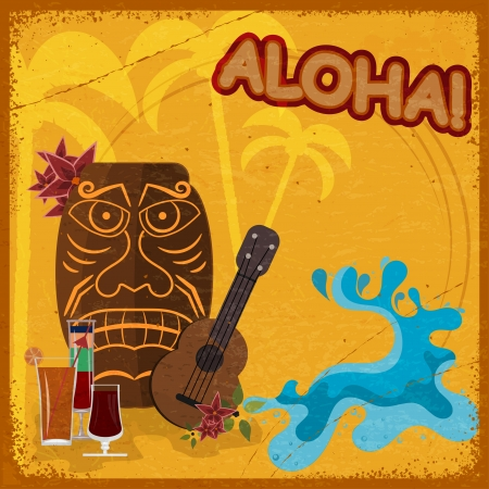 Vintage postcard with  featuring Hawaiian masks, guitars and cocktails. eps10 Vector