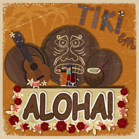 Vintage orange card - signboard tiki bar - with the image ukulele, drums and masks. eps10