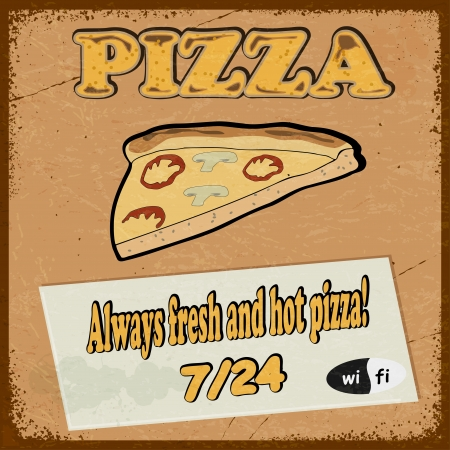 Vintage postcard with the image pizza slice of pizza. Stock Vector - 17259701