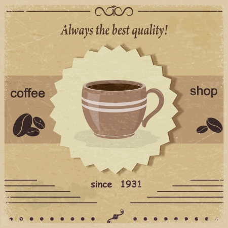 Vintage label coffee shop. eps10 Vector