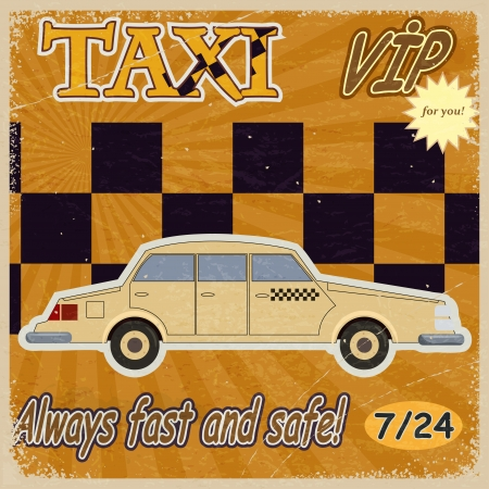 Vintage card with the image of the old taxis.  Vector