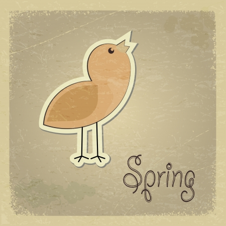 Vintage postcard with a picture chick. Spring motif.  Stock Vector - 17259702
