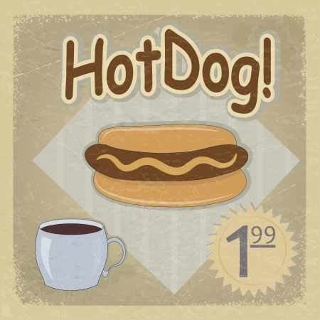 Vintage postcard and a picture of hot dogs. eps10 Vector