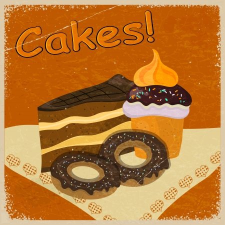 Vintage background image of a piece of cake and cookies on a napkin.  Vector