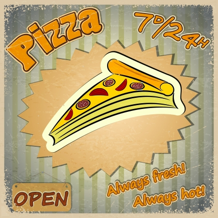 Vintage grunge card with a pizza menu.  Vector