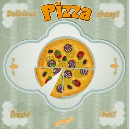 Vintage card with a picture of pizza with a cut piece. Stock Vector - 17453237