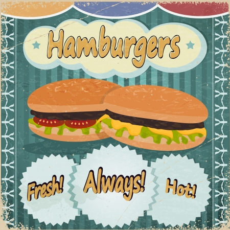 Vintage background with the image of hamburgers. Vector
